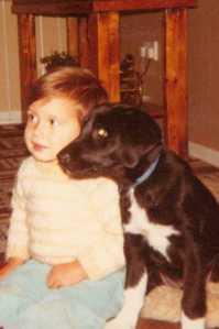 Eldest Son with Bonnie as a puppy - 1984(c) copyright Sherri Matthews 2013
