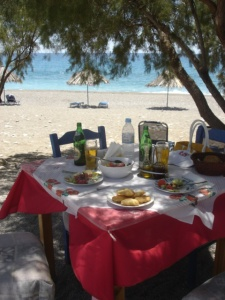 Lunch on the Beach in Crete  (c) Copyright Sherri Matthews 2013