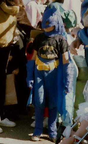 My son in his Batman  - notice the hat, belt and gloves all made out of felt!  The cape is polyester and his prized Batman tshirt courtesy of Grandma & Grandpa and his own blue sweatpants completed his get-up! (c) Sherri Matthews 2013