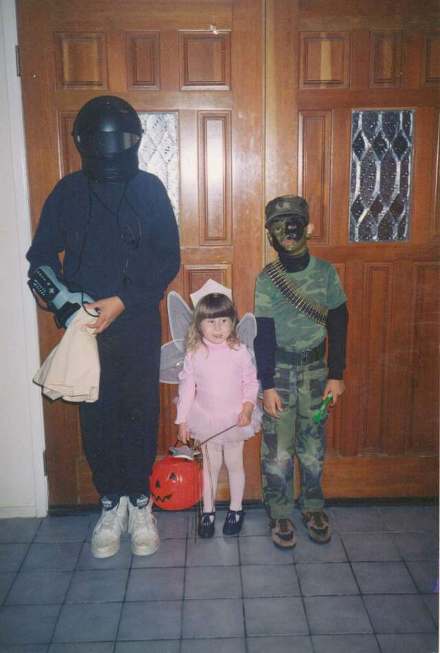 Three kids together Halloween 1994 - An Alien, G I Joe and a Sweet Little Pink Fairy!!  All I had to buy were the fairy wing, a plastic wand and face make-up! (c) copyright Sherri Matthews 2013