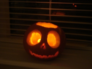 Jack Skellington Jack-o-lantern carved by Aspie Daughter (c) copyright Sherri Matthews 2013