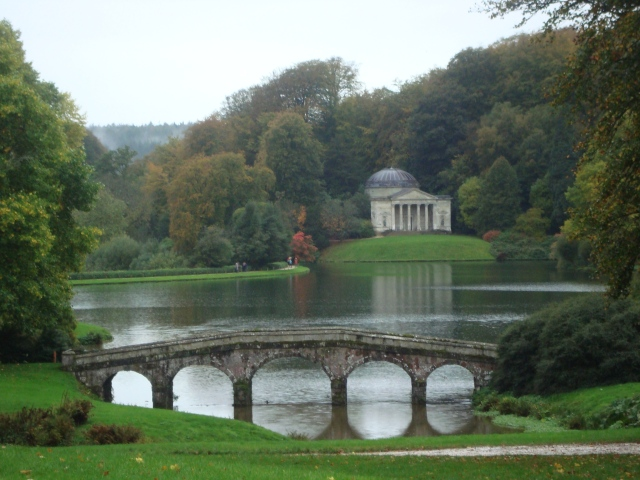 View from St Peter's Church grounds of the Bridge and the Pantheon in the gardens at Stourhead (c) copyright Sherri Matthews 2013