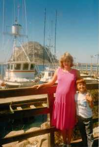 Me with Big-Brother-To-Be  Morro Bay, California 1988 (c) Sherri Matthews