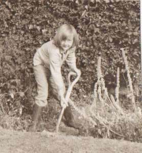 Me helping gather leaves for the Guy (or digging, as the case may be!)  - Surrey, 1967 (c) Sherri Matthews 2013