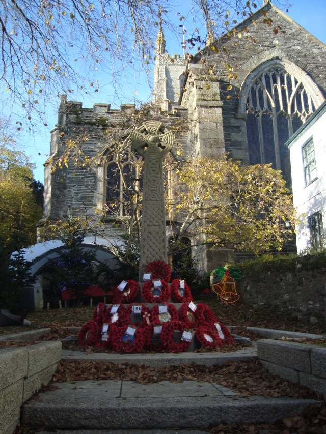 Church at Fowey with Poppy Wreaths still very much in evidence from Rememberance Sunday (c) Sherri Matthews 2013