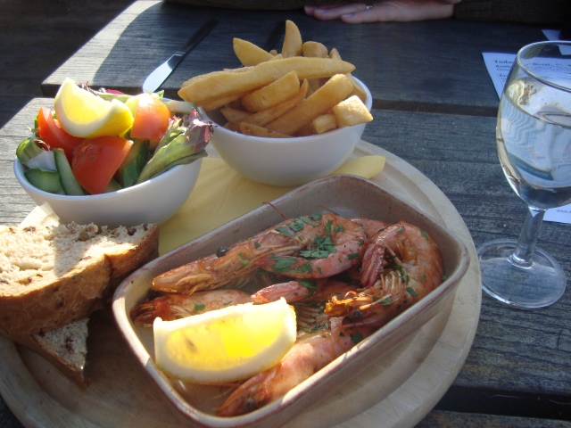 Sunday lunch outside by the beach in February , West Bay (c) Sherri Matthews 2014