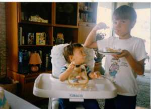 My boys enjoying birthday cake for Nicky's first birthday one month after the San Francisco earthquake - 1989 (c) Sherri Matthews 2014