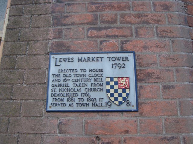 Plaque for the Lewes Market Tower, Lewes, Sussex (c) Sherri Matthews 2014
