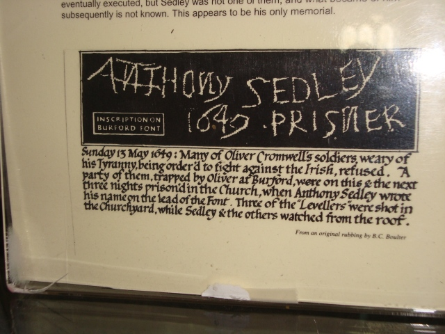 Tracing of original carving by Anthony Sedley, 1649 on the font at Burford Church, The Cotswolds, England (c) Sherri Matthews 2014