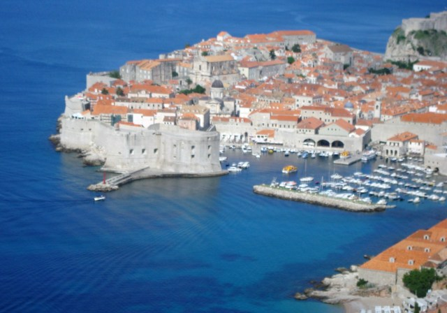 The Pearl of the Adriatic - Old City Dubrovnik taken as we approach from the road above.  Look at that sea! (c) Sherri Matthews 2014