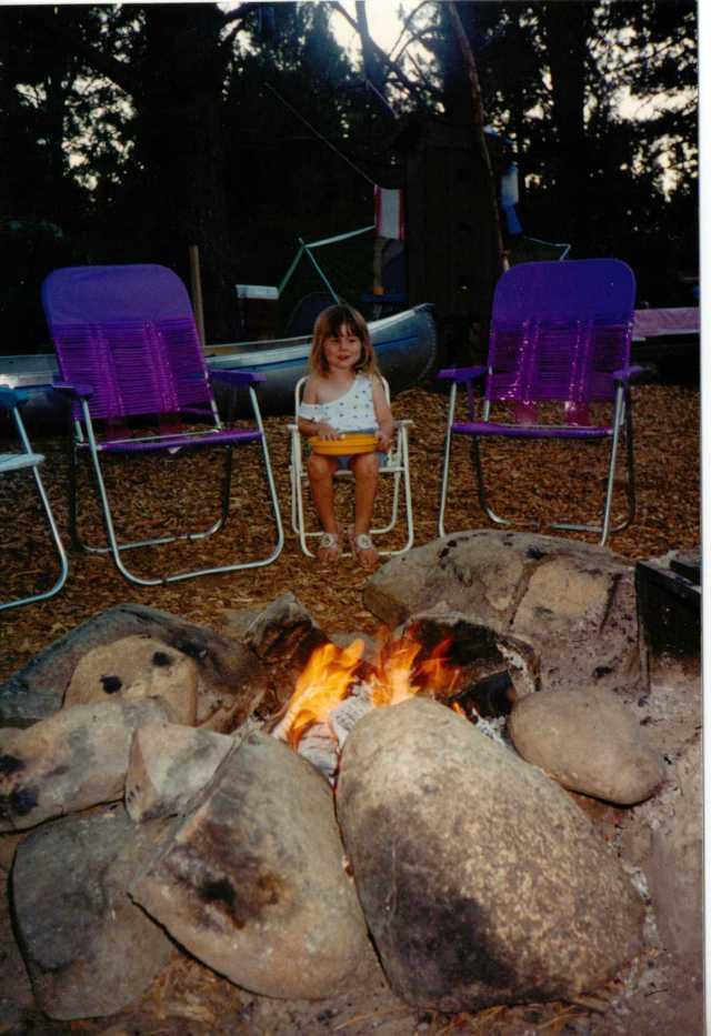 Aspie D enjoying sitting around the campire, Lake Siskiyou, California, 1990's (c) Sherri Matthews 2014