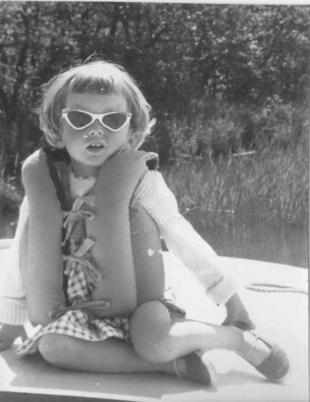 Me in white plastic sunglasses - Norfolk Broads 1960s Diva in training?   These sunglasses fell into the water shortly after this photo was taken and I was so sad to see them float away...story of my life, ha! (c) Sherri Matthews 2014