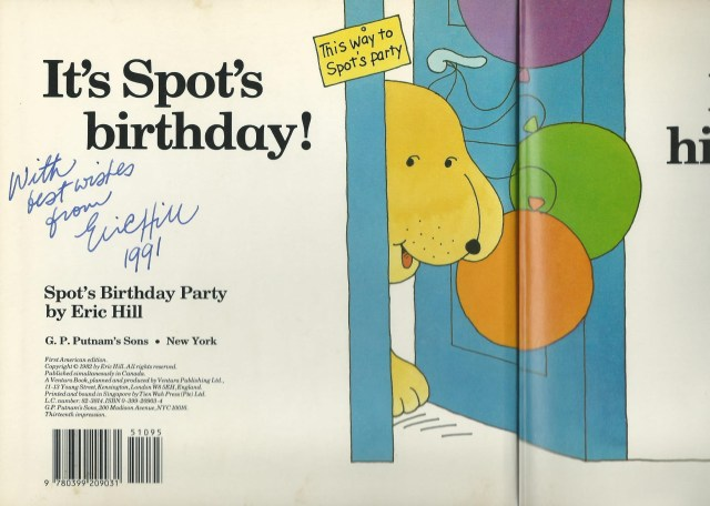 Autographed Spot's Birthday Party book by Eric Hill, 1991 (c) Sherri Matthews 2014