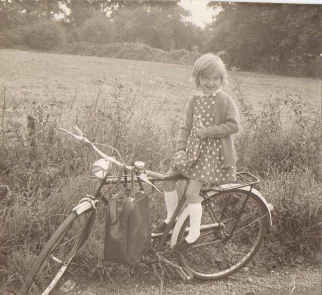 Me on a family friend's bicycle at the back of our house in Surrey. 1960's (c) Sherri Matthews 2014
