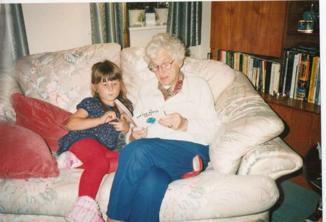 My Granny reading to Aspie D - England 1990s (c) Sherri Matthews 2014
