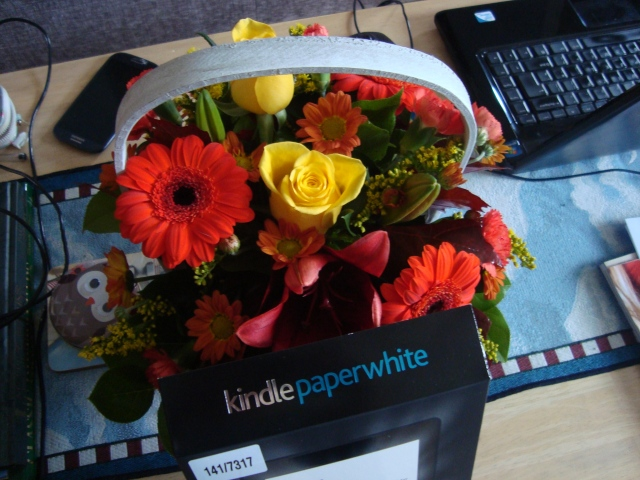 Wait...is that a Kindle Paperwhite hiding behind the flowers? (c) Sherri Matthews 2014