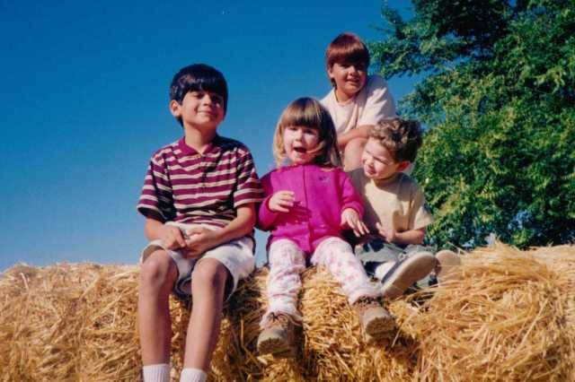 On top of the world in Blue Sky California in October, Paso Robles Pumpkin Farm, 1990s (c) Sherri Matthews