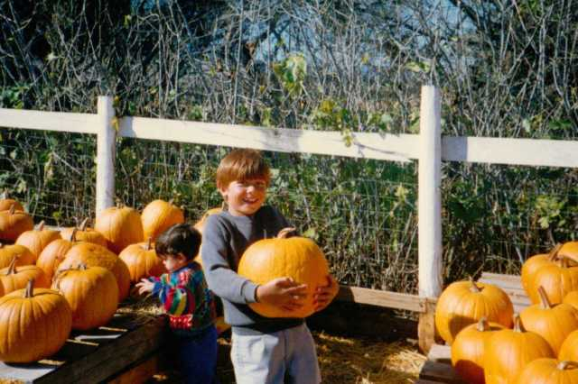 My boys having fun picking out their pumpkins for carving. Los Osos,California 1990 (c) Sherri Matthews