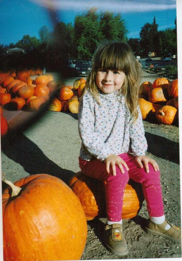 Aspie D making sure this pumpkin wasn't going anywhere - 1994 Paso Robles, CA (c) Sherri Matthews