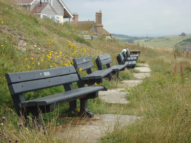 Memorial Benches overlooking West Bay, Somerset (c) Sherri Matthews 2014