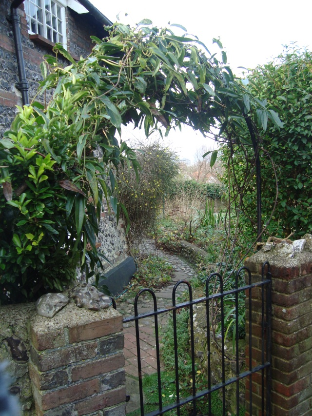 View through the leafy archway above the garden gate to the back garden. (c) Sherri Matthews 2015