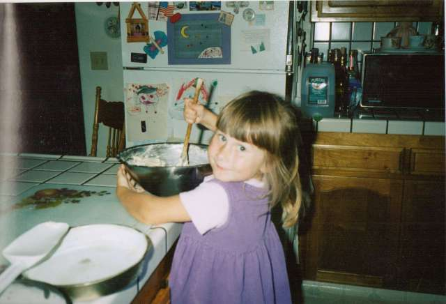 Although Pancake Day isn't celebrated in America, AspieD enjoyed helping with other baking - 1990s (c) Sherri Matthews