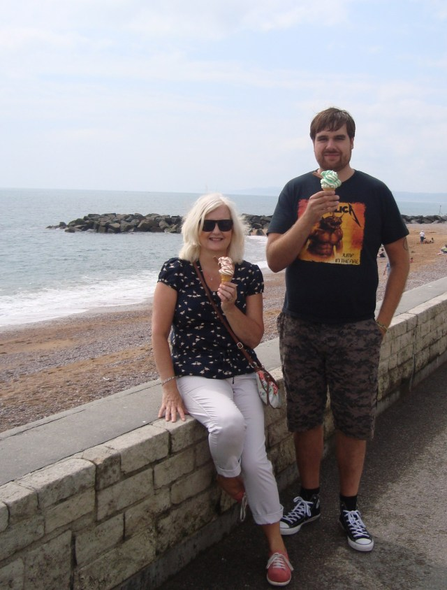 Sitting on this wall, happily eating an ice cream with Eldest Son last summer at West Bay in Dorset, I had no intentions of throwing any wrappers anywhere.  Be sure that I am fully reformed and abhor littering.  Stealing too, naturally.  Keeping this photo colour to end on a cheerful note. (c) Sherri Matthews