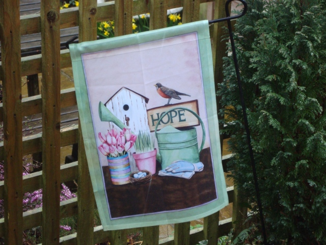 This beautiful 'Hope' flag arrived this week from my dear friend in California.   An American robin to say hello to his cousin Sweet Robin!   What perfect timing, bringing a reminder of the hope that springs out of the message of Easter. (c) Sherri Matthews 2015