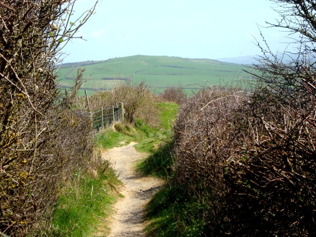 Green Hills and Blue Seas beckon as the path meanders onward. West Bay April 2015 (c) Sherri Matthews
