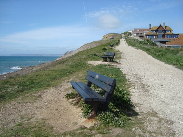 West Bay Coastal Walk.  Memorial benches overlooking the sea April 2015 (c) Sherri Matthews