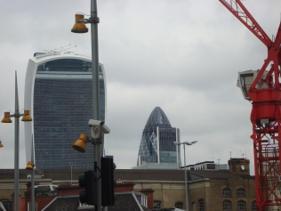 The Walkie Talkie building and The Gherkin, side by side