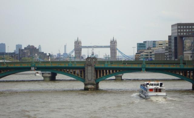 Tower Bridge seen from the Millenium Bridge, Southwark Bridge in front. (c) Sherri Matthews April 2015