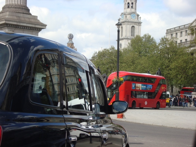 Driving through Trafalgar Sqare April 2015 (c) Sherr Matthews