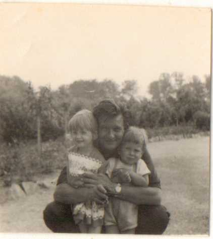 (c) Sherri Matthews My favourite photograph of my dad with me and my brother, 1960s, Surrey, England